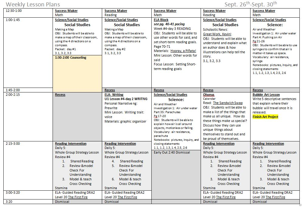 6 week lesson plan template - 5 components to a great weekly lesson plan